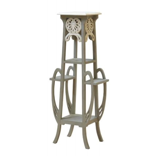 Art Nouveau French White Distressed Plant Stand